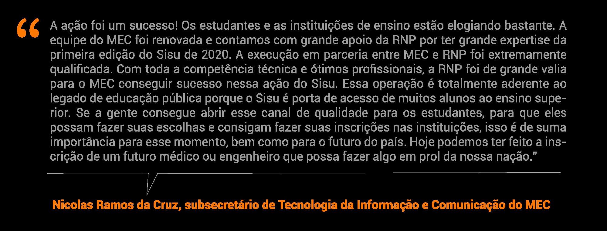 Nicolas Ramos da Cruz, subsecretário de Tecnologia da Informação e Comunicação do MEC